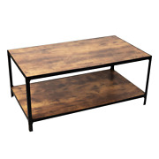 Rustic Black Wood Rectangle Coffee Table Stable Low Maintenance Vintage Style