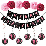 30th Birthday Party Decorations Supplies - Glitter Cheers To 30 Years Banner 30