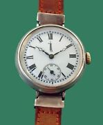 Vintage 1915's Early Hermetic Wwi Military Type Sterling Watch Texas Oil Rig