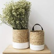 Wall Hanging Small Storage Baskets - Water Hyacinth And Paper Woven Hanging Basket