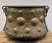 C18th Early C19th Copper Iron Handle Cauldron With Hammered Roundel Bosses