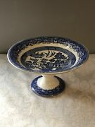 """Lowered Antique Blue Willow Cake Stand Transfer Pattern 9.25"""" D X 5 1/8"""" H"""