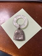 Antique Baby Rattle Bell Plastic Ring Date Weight Time Mike Sterling Silver