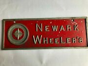 Newark Wheeler's - Vintage Car Club Plaque Made Of Aluminum In Good Condition