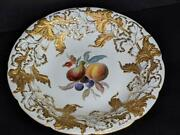 Meissen Large Serving Bowl With Heavy Gold And Hand Painted Fruit