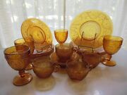 Tiara Indiana Glass Amber Sandwich Plates, Goblets, 9 Ounce Cups, 20 Piece Set