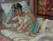 Vintage Original Oil Painting Portrait Of Mother With A Baby Impressionist Art