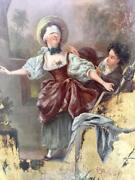 Antique French 18th Century Oil Painting On Giltwood Panel Andlsquoblind Manandrsquos Buffandrsquo