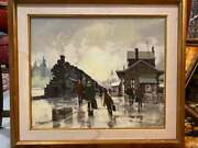 Vintage 1985 Acrylic On Canvas Ailway Station Canadian Art Collection Signed