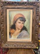 Vintage Oil On Canvas Painting Wooden Frame Gypsy Girl Art Collection Signed
