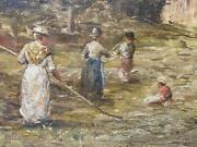 Antique 19th Century British Oil On Canvas Harvesting Framed And Artist Signed