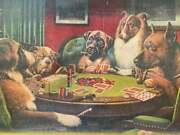 Old Lithograph Oil On Canvas Dog Playing Cards Vintage 1930 Painting