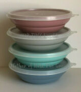 Tupperware Cereal Bowls Set 4 Country Pastel Blue Pink Mint Gray 155 227 Vintage