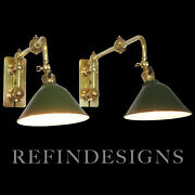 Pr Brass Extension Arm Benjamin Machine Age Industrial Modern Wall Sconce Lamps