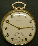 1937 Longines 17l Pocket Watch 14k Solid Gold 17 Jewels Of Ps