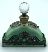 Antique Victorian Green Perfume Bottle With Purple Accents Crystal Topper