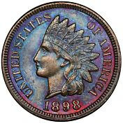 1898 Toned Indian Head Cent Ngc Ms63 Bn Great Luster