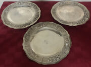 Aztec Rose By Maciel Sterling 900 Silver 8 3/8andrdquo Plates Set Of 3 Mexico 851g
