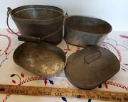 Vintage Primitive Tin Miners Lunch Bucket With Wooden Handle / 2 Dishes
