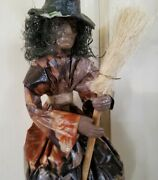 Vintage Paper Mache Flying Witch Broomstick Hanging 14and039and039 Long Rare Halloween