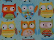 Fabric Cute Owl Flannel Cotton 59x59 Plus 51x16 By No387