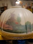 Vintage Painted Frosted Glass Aladdin Oil Lamp Shade
