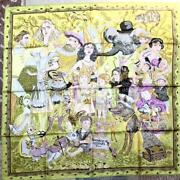 Hermes Scarf Stole Fairley Tales By Philippe Dumas Yellow Silk Mint 90 Cm Rare