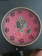 Rare Plate Wall Copper Face Hand Furniture Vintage Metal Decorative Painted