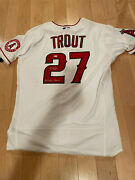Mike Trout Autographed Authentic Angels White Jersey W/ Millville Meteor Inscrip
