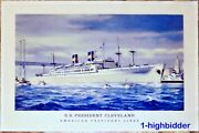 Vintage 1956 Poster S.s. President Cleveland American President Lines