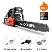 Hot 62cc 20 Gas Chainsaw Handed Petrol Chain Gasoline Woodcutting 2 Cycle