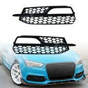 For 13-16 Audi A3 S3 S-line Front Lower Bumper Honeycomb Fog Light Grill Black