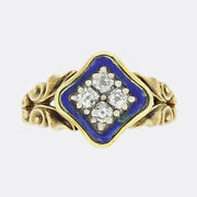 Early Victorian Blue Enamel And Diamond Ring 15ct Yellow Gold