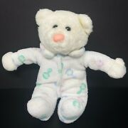 Vintage White Teddy Bear Plush Terry Cloth Baby Pastel Rattle Pj Pink Nose Lovey