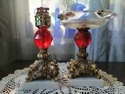 Vintage Ruby Red Glass Brass Marble Pedastle Ashtray And Tabletop Lighter C-333