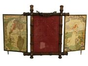 Antique French Victorian Era Triptych Vanity Mirror Faux Bamboo And Brass Frame