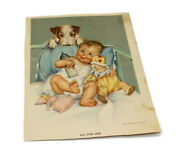 Vtg Print All For One Baby Rosy Cheeks W/ Bottle Dog Watching Charlotte Becker
