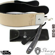 Straight Cut Throat Razor And Cowhide Leather Double Sided Sharpening Stropbelt