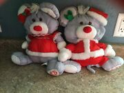 Fisher Price Puffalump Christmas Mr And Mrs Santa Mouse Vintage 80andrsquos
