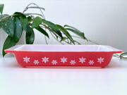 Rare Find Jaj Pyrex 'snowflake' In 'deep Coral' Shallow Oblong Casserole