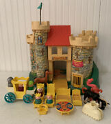 Vintage Fisher Price Little People Play Family Castle With Pink Dragon