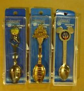 Lot Of 3 Walt Disney World Collectible Treasure Spoons - Silver - 50 Years - New