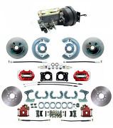 1964-73 Ford Mustang Red Front And Rear Disc Brake Kit, Drum-disc 11.25 Rotor