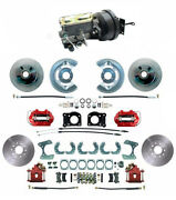 1964-73 Ford Mustang Red Front And Rear Disc Brake Kit Drum-disc 11.25 Rotor