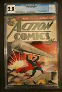 Action Comics 19 Cgc 2.0 Dc 1939 Key Early Superman Cover. Looks Better Than G