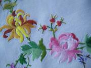 Wonderful Chrysanthemums And Rose Hips+ Vintage Hand Embroidered Tablecloth
