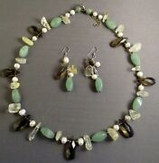 Suzanne Somers Multi-colored Crystal And Stone Necklace And Earrings