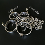 Stainless Steel Heavy Hand Cuffs Ankle Fetters Slave Collar Cuffs Chain Shackle