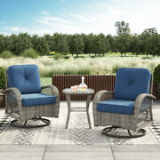 Outdoor Patio Chat Set 3-piece Wicker Swivel Chair Side Table Blue Cushion