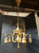Antique Classical Gold 5 Light Chandelier W/ Canopy Art Deco Heavy Spelter